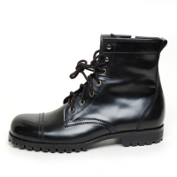 men's cap toe black leather eyelet lace up side zip back tap combat sole hand made ankle boots
