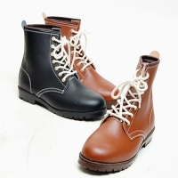 Men's black brown leather round toe eyelet lace up bakc tap combat sole ankle boots
