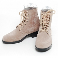 men's thick platform beige synthetic suede eyelet lace up ankle boots