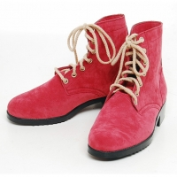men's thick platform pink synthetic suede eyelet lace up ankle boots