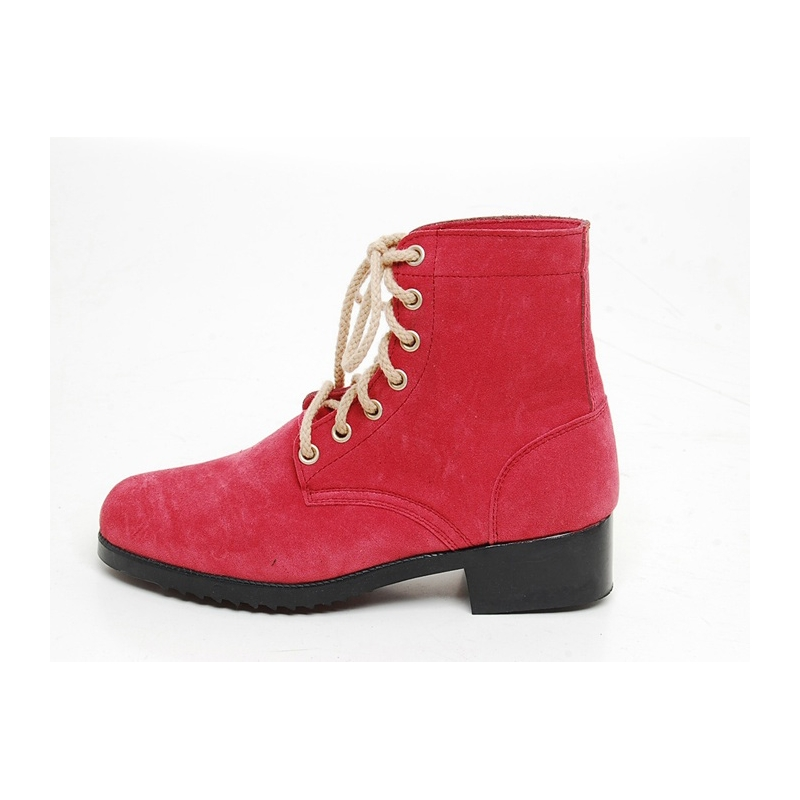 s thick platform pink synthetic suede ankle boots