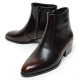 men's plain toe brown leather side zip high heels anke boots