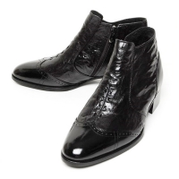 men's wing tip black leather wrinkle warm inner fur side zip high heel ankle bootes