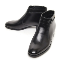men's plain toe black leather outside zip knots ankle boots