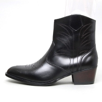 men's pointed toe black leather geometric stitch side zip high heel western ankle boots