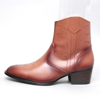 men's pointed toe brown leather geometric stitch side zip high heel western ankle boots