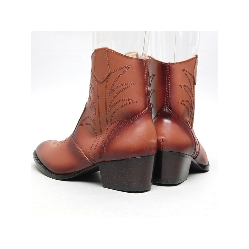 s geometric stitch high heel western ankle boots