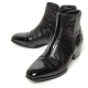 men's cap toe black leather cut out wrinkle side zip high heel ankle boots