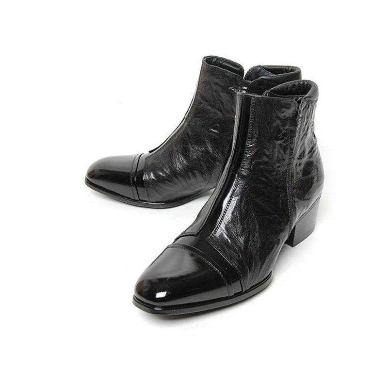 1f7e722bbef men's cap toe cut out wrinkle high heel ankle boots