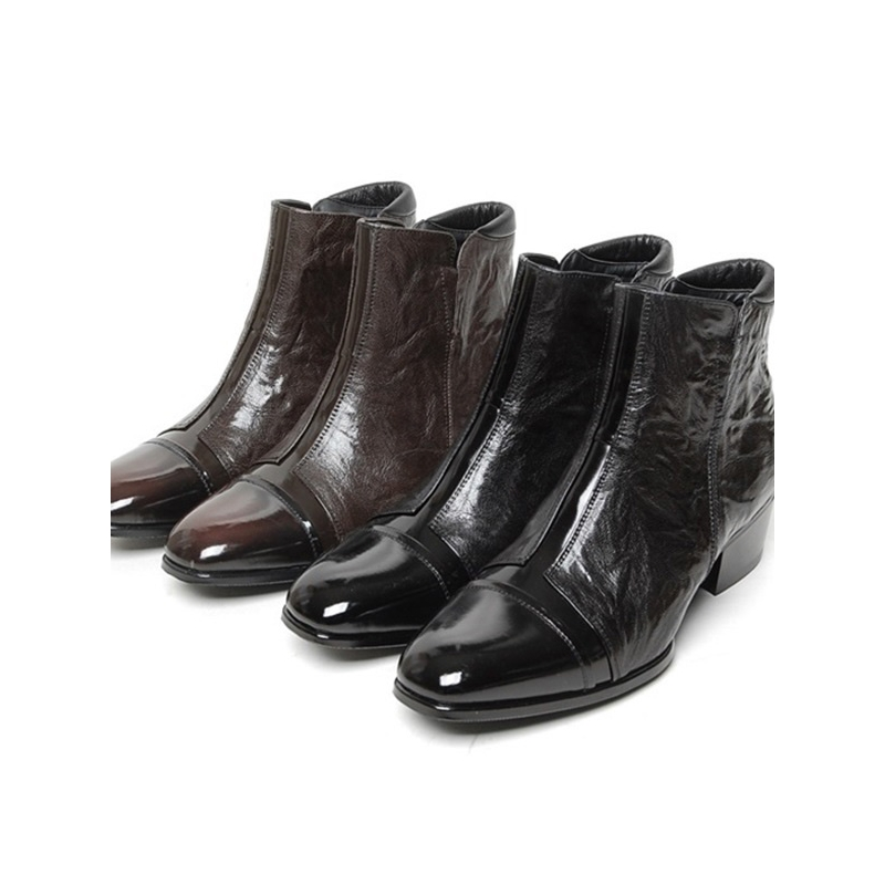 Men S Cap Toe Cut Out Wrinkle High Heel Ankle Boots