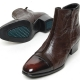 men's cap toe dark brown leather cut out wrinkle side zip high heel ankle boots