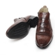 men's brown sheep skin stripe stitch elastic side zip back tap ankle boots