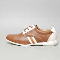 Men's u-line stitch brown synthetic leather fashion sneakers