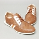 Men's u-line stitch brown synthetic leather eyelet lace up fashion sneakers