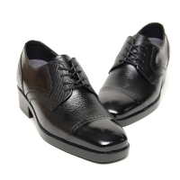 Men's straight tip brogue increase height hidden insole oxford elevator shoes