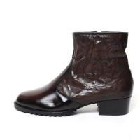 Men's warm inner fur side zip ankle boots increase height elevator shoes