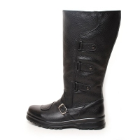 men's round toe buckle strap warm inner fur side zip mid calf boots