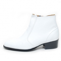 Men's round toe white leather side zip high heels ankle boots