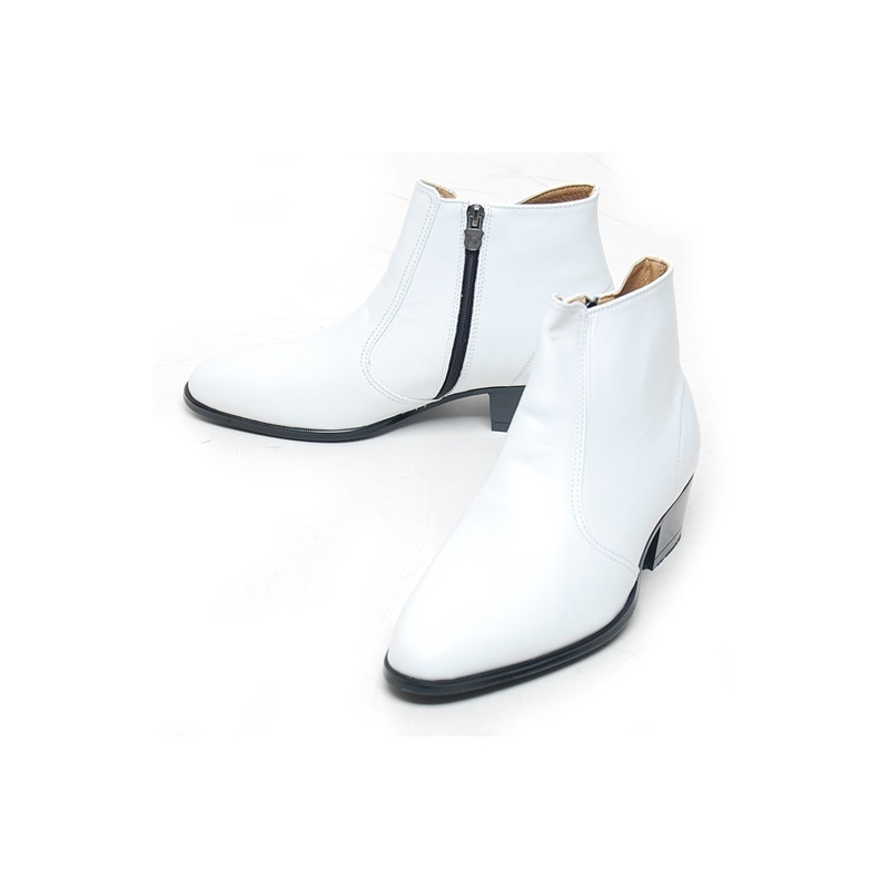 s toe white leather side zip high heels ankle boots