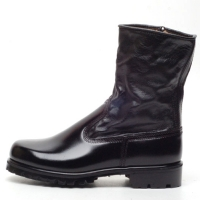 Men's round toe black leather military side zip button combat sole ankle boots
