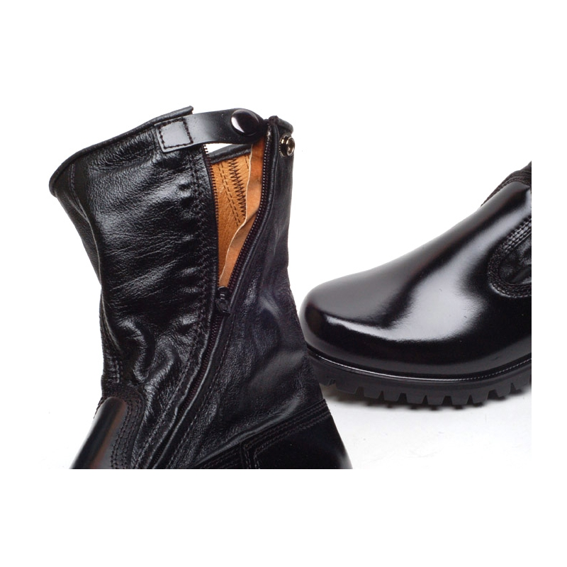 Men S Round Toe Black Leather Military Side Zip Button