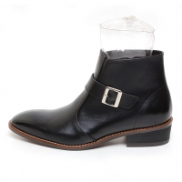 Men's plain toe buckle strap side zip high heel ankle boots