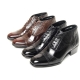 Men's cap toe two tone wrinkle side zip high heels ankle boots