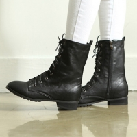 womens flat round toe black synthetic leather warm inner napping detail eyelet lace up & side zip closure back tap ankle boots
