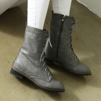 womens flat round toe gray synthetic leather warm inner napping detail eyelet lace up & side zip closure back tap ankle boots