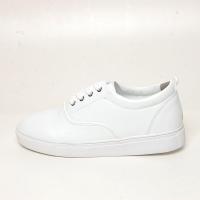 Men's white platform synthetic leather eyelet lace up back tap sneakers