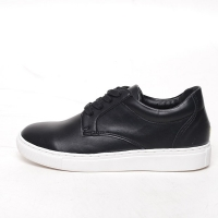 Men's white platform synthetic leather lace up sneakers