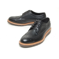 Men's wing tip cow leather longwing brogues lace up wedge heel oxford shoes