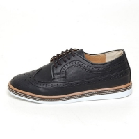 Men's wingtip longwing brogues lace up comfy wedge heel casual shoes