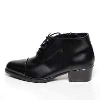 Men's pointed toe straight tip lace up side zip high heel ankle boots