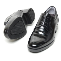 Men's leather double wrinkle open lacing increase height oxford elevator shoes