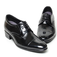 Men's leather cap toe open lacing increase height oxford elevator shoes