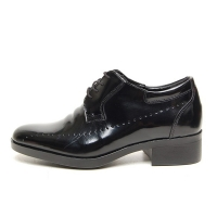 Men's leather round to brogues wrinkle increase height oxford elevator shoes