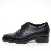Men's leather U line stitch wrinkle open lacing increase height oxford elevator shoes