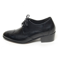 Men's wing tip brogues open lacing increase height high heel oxford elevator shoes