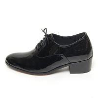 Men's plain toe glossy leather close lacing increase height high heel oxford elevator shoes