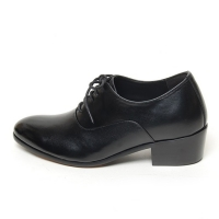 Men's plain toe leather close lacing increase height high heel oxford elevator shoes