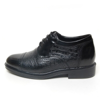 Men's cap toe leather wrinkle open lacing hidden insole increase height oxford elevator shoes
