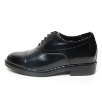 Men's cap toe leather hidden insole increase height oxford elevator shoes