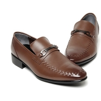 Men's leather horse bit u line stitch loafer shoes
