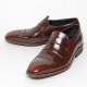 Men's round toe stitch wrinkle leather loafer shoes