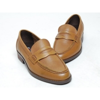 Men's u line stitch back wrinkle penny loafer shoes