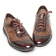 Men's wrinkle two tone leather eyelet lace up shoes