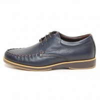 Men's wrinkle u line stitch lace up leather shoes