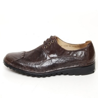 Men's front stitch wrinkle leather eyelet lace up shoes