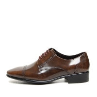Men's straight tip brogue open lacing oxford shoes
